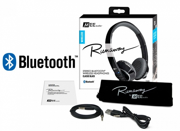 Ακουστικά Mee Audio RUNAWAY 4.0 AF-32 BLACK, STEREO BLUETOOTH, MICROPHONE, REMOTE, VOLUME CONTROL