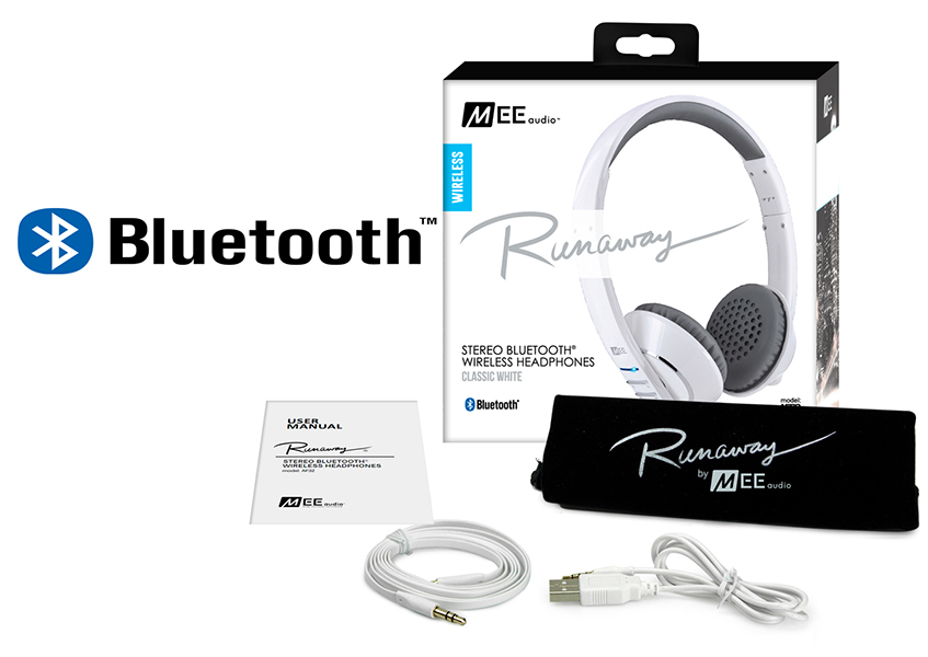 Ακουστικά in-ear και Headphone MEE Audio Ακουστικά Mee Audio RUNAWAY 4.0 AF-32 WHITE, STEREO BLUETOOTH, MICROPHONE, REMOTE, VOLUME CONTROL