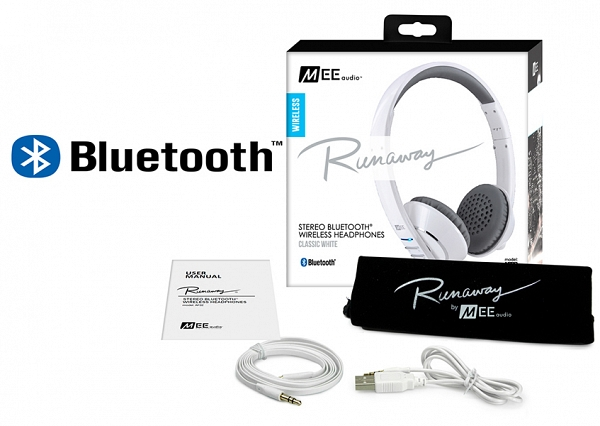 Ακουστικά Mee Audio RUNAWAY 4.0 AF-32 WHITE, STEREO BLUETOOTH, MICROPHONE, REMOTE, VOLUME CONTROL