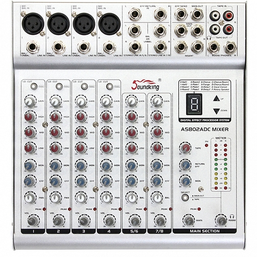 Sound King AS802 ADC Series power mixing console
