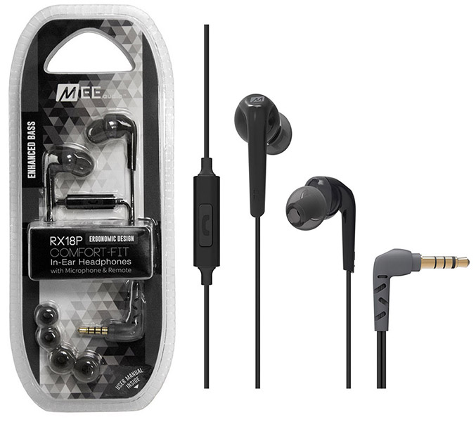 MEE Audio Ακουστικά in-ear RX18P BLACK MICROPHONE-REMOTE, Enhanced Bass