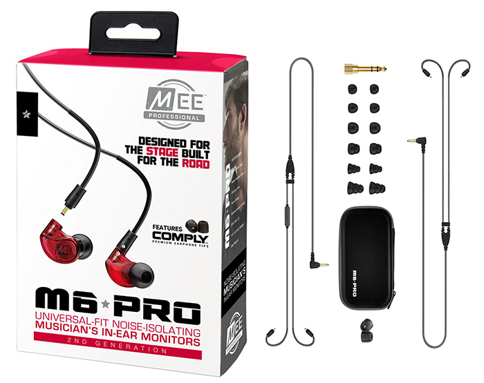 MEE Audio Ακουστικά in-ear M6PROG2 Red UNIVERSAL MICROPHONE, REMOTE,VOLUME CONTROL
