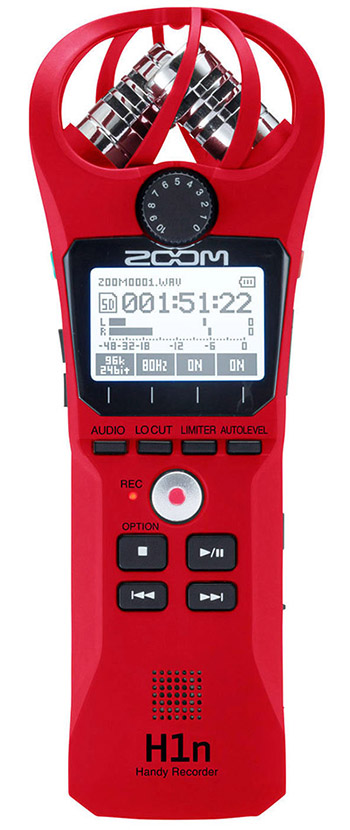 ZOOM Handy Recorders & Multi Track Recorder ZOOM H1n Red Digital Recorder Stereo Handy. Just Press Record